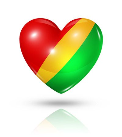 republic of the congo: Love Republic of the Congo symbol. 3D heart flag icon isolated on white  Stock Photo