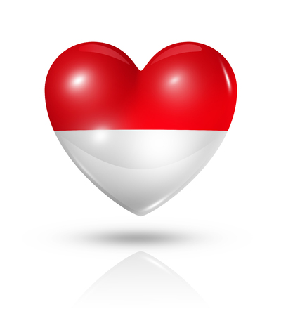 indonesian flag: Love Indonesia symbol. 3D heart flag icon isolated on white
