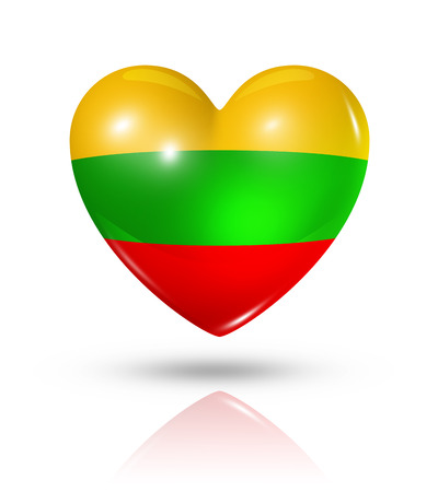 Love Lithuania symbol. 3D heart flag icon isolated on white   photo