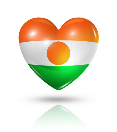 niger: Love Niger symbol. 3D heart flag icon isolated on white