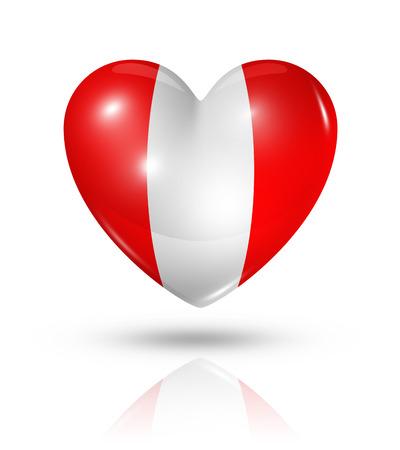 bandera de peru: Amor Perú símbolo. 3D icono de la bandera del corazón aislado en blanco Foto de archivo