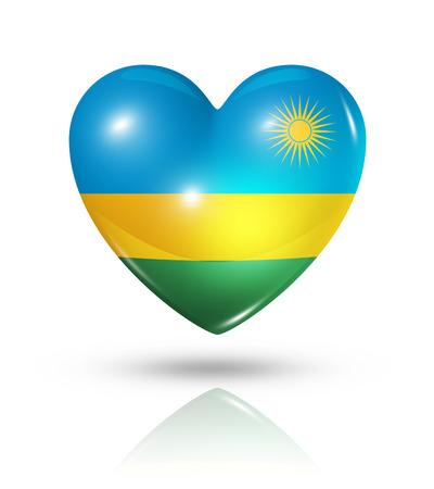 rwanda: Love Rwanda symbol. 3D heart flag icon isolated on white