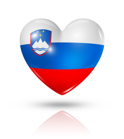 Love Slovenia symbol. 3D heart flag icon isolated on white   photo