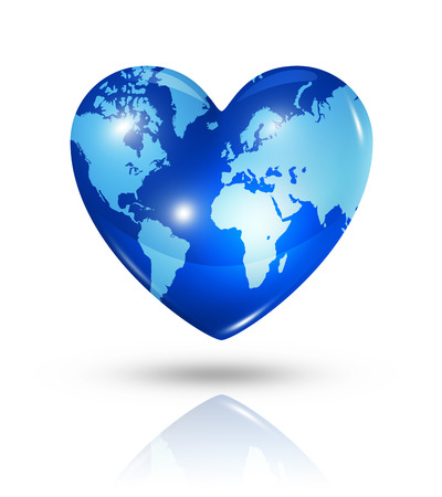 Love earth symbol. 3D world map in a heart. Icon isolated on white   photo
