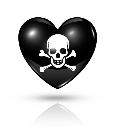 Love pirate symbol. 3D heart death flag icon isolated on white   photo