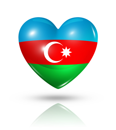azerbaijani: Love Azerbaijan symbol. 3D heart flag icon isolated on white with clipping path