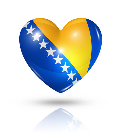 bosnia: Love Bosnia and Herzegovina symbol. 3D heart flag icon isolated on white with clipping path