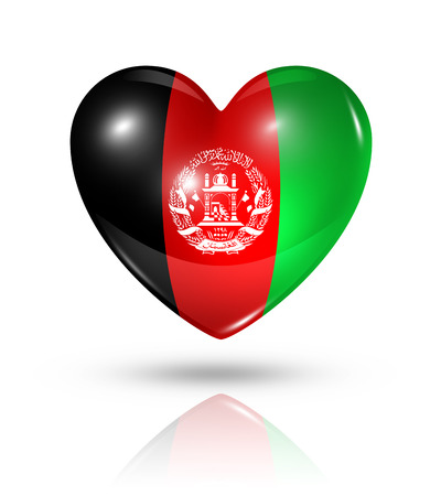 afghan flag: Love Afghanistan symbol. 3D heart flag icon isolated on white with clipping path