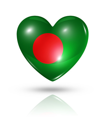 Love Bangladesh symbol. 3D heart flag icon isolated on white with clipping path photo