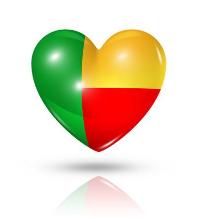 Love Benin symbol. 3D heart flag icon isolated on white with clipping path