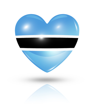botswana: Love Botswana symbol. 3D heart flag icon isolated on white with clipping path