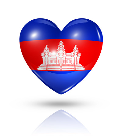 cambodian flag: Love Cambodia symbol. 3D heart flag icon isolated on white with clipping path Stock Photo