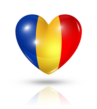 chadian: Love Chad symbol. 3D heart flag icon isolated on white with clipping path