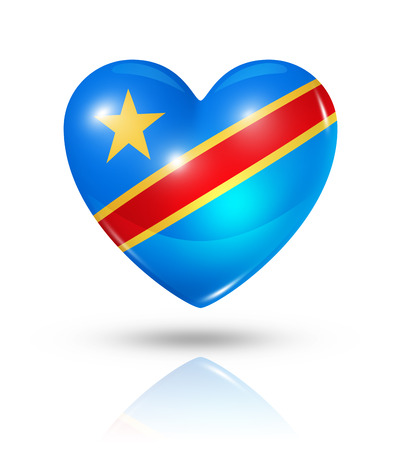congo: Love Democratic Republic of the Congo symbol. 3D heart flag icon isolated on white with clipping path