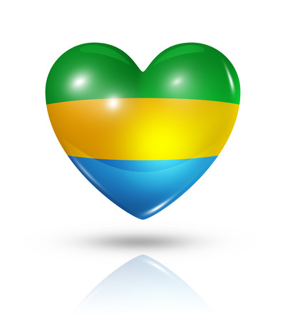 gabon: Love Gabon symbol. 3D heart flag icon isolated on white with clipping path