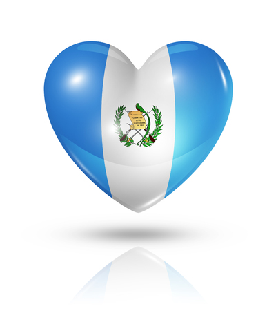 guatemalan: Love Guatemala symbol. 3D heart flag icon isolated on white with clipping path