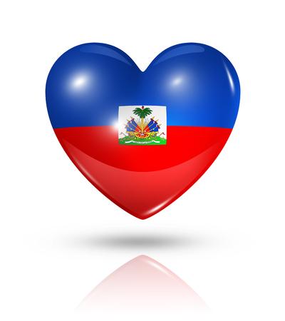 haiti: Love Haiti symbol. 3D heart flag icon isolated on white with clipping path