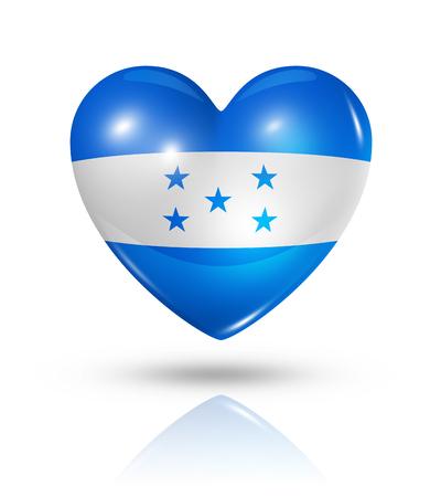 bandera honduras: Amor Honduras símbolo. Icono 3D del corazón del indicador aislado en blanco con trazado de recorte Foto de archivo
