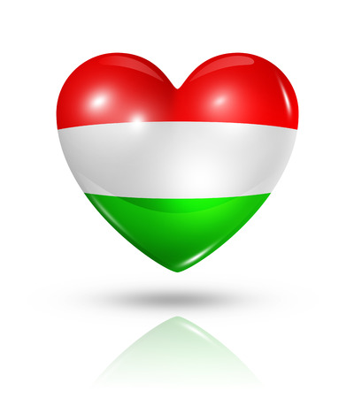 Love Hungary symbol. 3D heart flag icon isolated on white with clipping path Stock Photo - 22814292