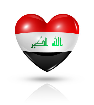 Love Iraq symbol. 3D heart flag icon isolated on white with clipping path Stock Photo - 22814291