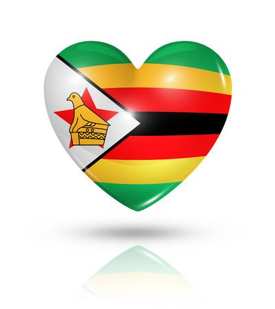 zimbabwe: Amor Zimbabwe símbolo. Icono 3D del corazón del indicador aislado en blanco con trazado de recorte