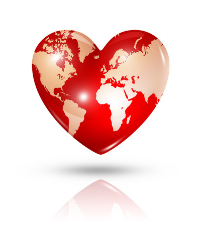 shiny heart: Love earth symbol. 3D world map in a heart. Icon isolated on white with clipping path