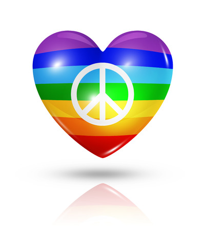 gay flag: Love peace symbol. 3D rainbow heart flag icon isolated on white with clipping path Stock Photo