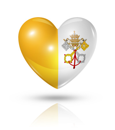 Love Vatican City symbol. 3D heart flag icon isolated on white with clipping path photo