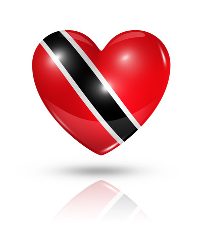 trinidad: Love Trinidad And Tobago symbol. 3D heart flag icon isolated on white with clipping path