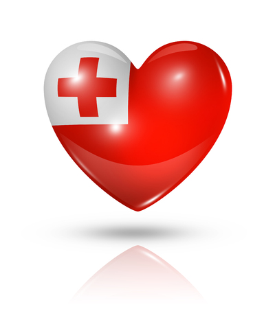 tonga: Love Tonga symbol. 3D heart flag icon isolated on white with clipping path Stock Photo