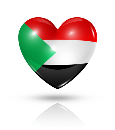 Love Sudan symbol. 3D heart flag icon isolated on white with clipping path photo
