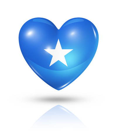 somalian flag: Love Somalia symbol. 3D heart flag icon isolated on white with clipping path