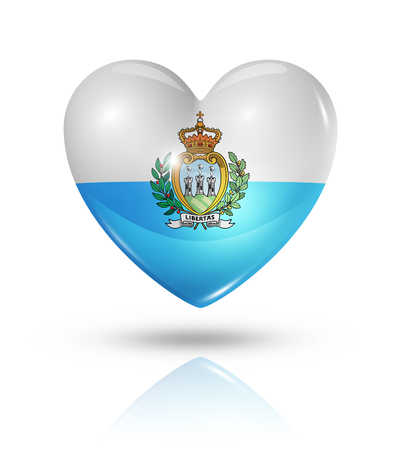 marino: Love San Marino symbol. 3D heart flag icon isolated on white with clipping path Stock Photo