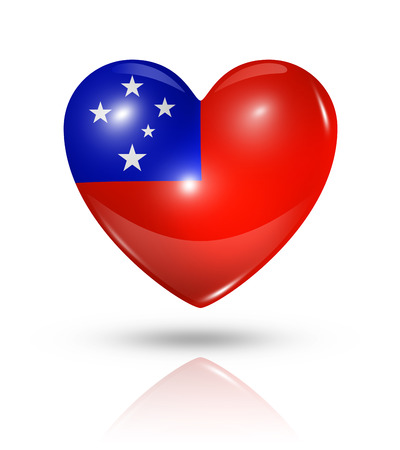 samoa: Love Samoa symbol. 3D heart flag icon isolated on white with clipping path