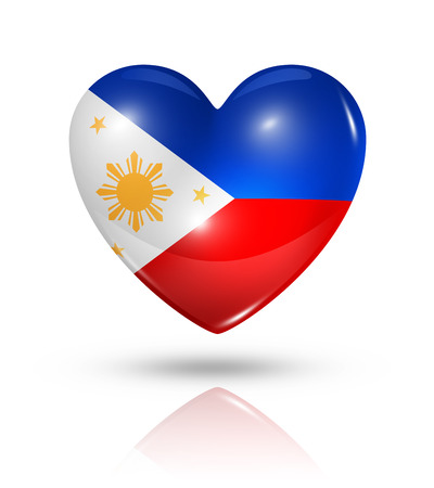 philippines: Love Philippines symbol. 3D heart flag icon isolated on white with clipping path