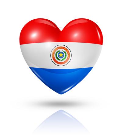 bandera de paraguay: Amor Paraguay símbolo. Icono 3D del corazón del indicador aislado en blanco con trazado de recorte
