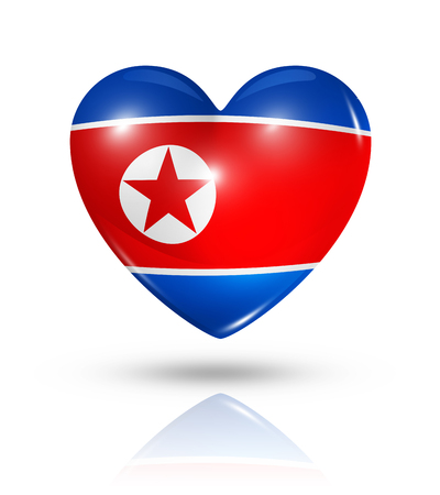 Love North Korea symbol. 3D heart flag icon isolated on white with clipping path photo