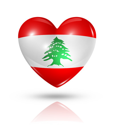 Love Lebanon symbol. 3D heart flag icon isolated on white with clipping path photo
