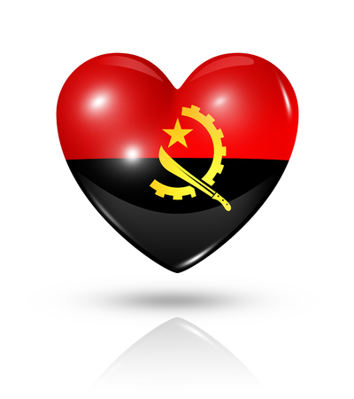 angola: Love Angola symbol. 3D heart flag icon isolated on white with clipping path