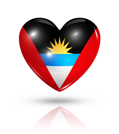 antigua flag: Love Antigua and Barbuda symbol. 3D heart flag icon isolated on white with clipping path