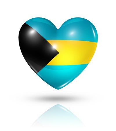 bahamas celebration: Love Bahamas symbol. 3D heart flag icon isolated on white with clipping path