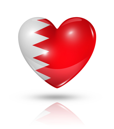 Love Bahrain symbol. 3D heart flag icon isolated on white with clipping path photo