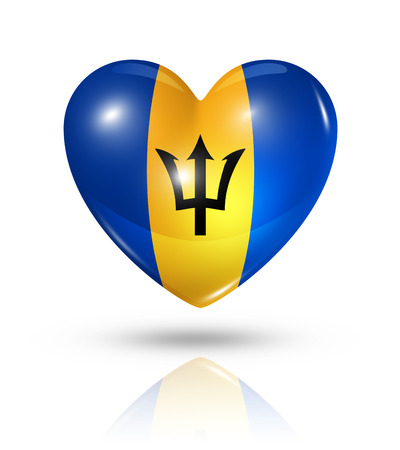 barbados: Love Barbados symbol. 3D heart flag icon isolated on white with clipping path Stock Photo
