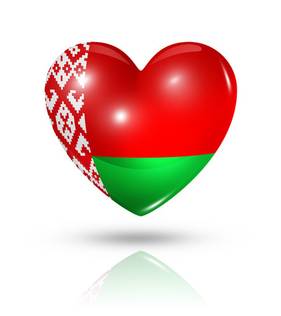 belorussian: Love Belarus symbol. 3D heart flag icon isolated on white with clipping path Stock Photo