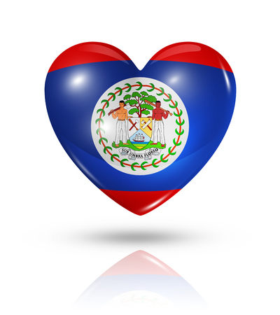 Love Belize symbol. 3D heart flag icon isolated on white with clipping path Stock Photo - 22813667