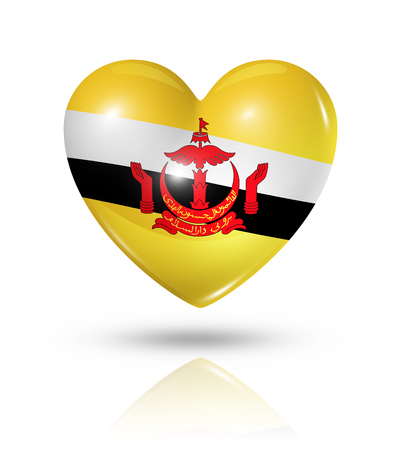 brunei: Love Brunei symbol. 3D heart flag icon isolated on white with clipping path