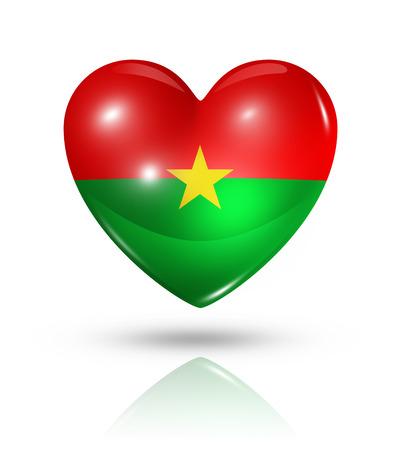 burkina faso: Love Burkina Faso symbol. 3D heart flag icon isolated on white with clipping path