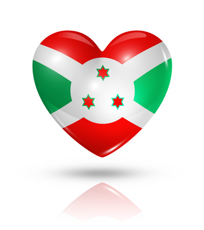 burundi: Love Burundi symbol. 3D heart flag icon isolated on white with clipping path Stock Photo