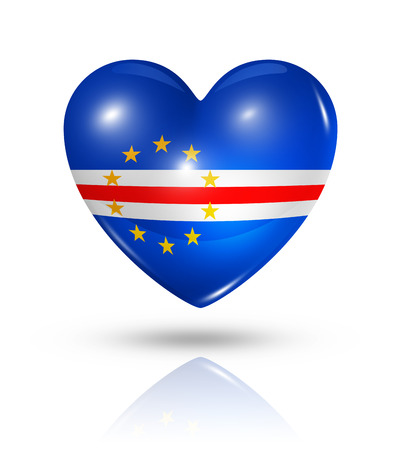 cape verde flag: Love Cape Verde symbol. 3D heart flag icon isolated on white with clipping path
