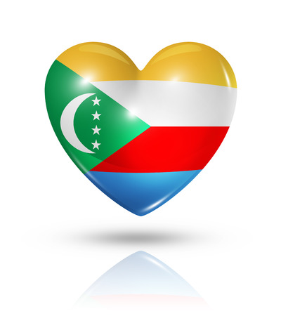 comoros: Love Comoros islands symbol. 3D heart flag icon isolated on white with clipping path